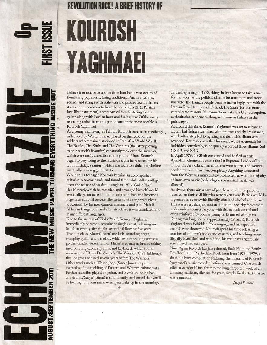 Kourosh Yaghmaei in Echo Magazanie